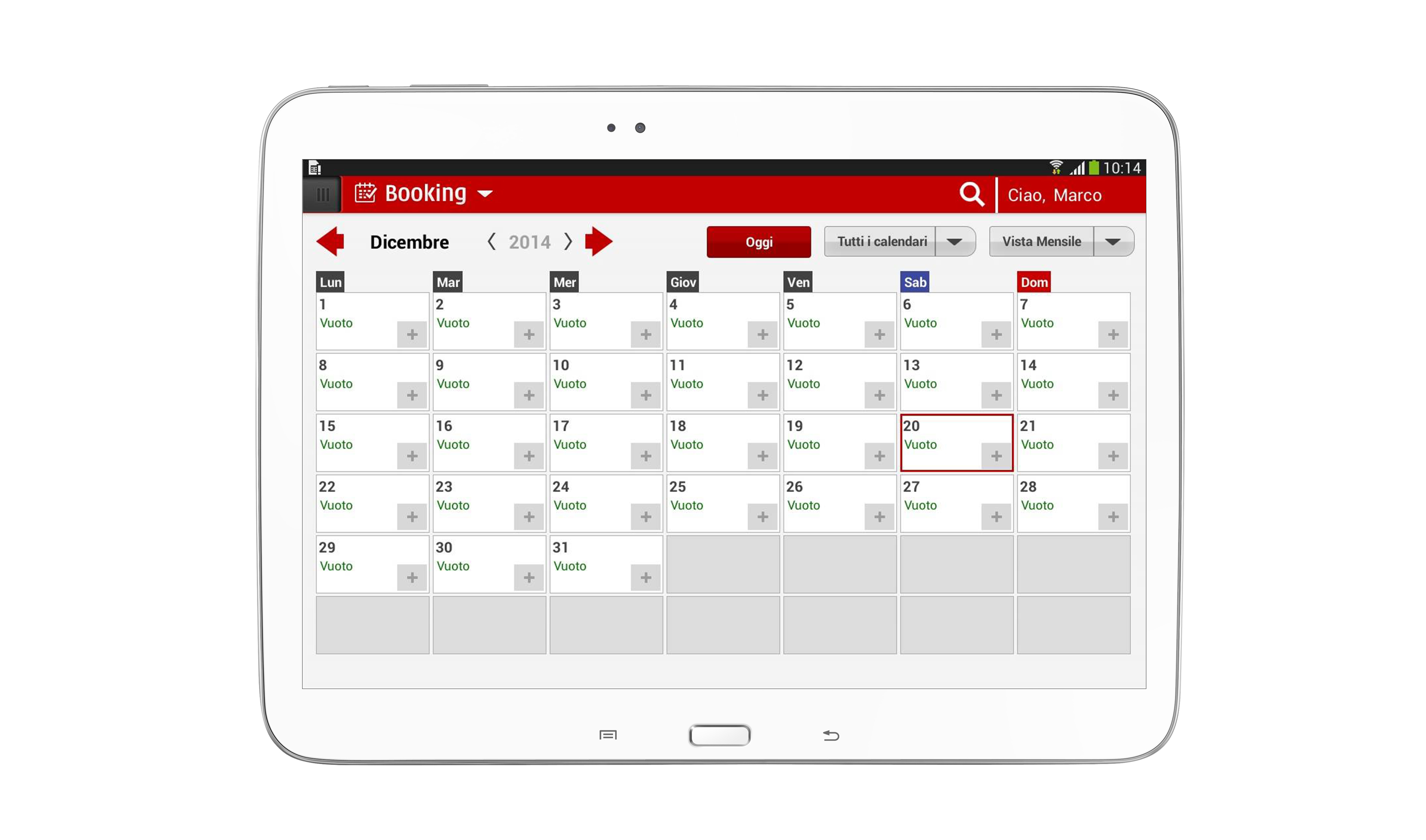Schermata Booking Rapidoo calendario appuntamenti